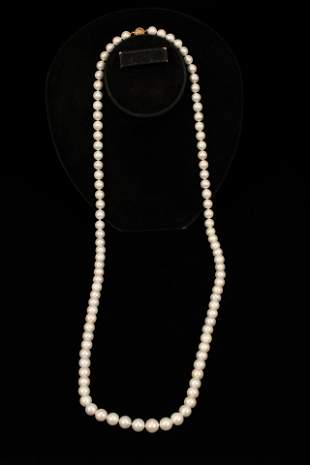 """SOUTH SEA PEARL & 18KT GOLD CLASP NECKLACE, L 49"""", T.W."""