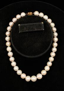"""SOUTH SEA PEARL & 18KT GOLD CLASP NECKLACE, L 17.5"""","""