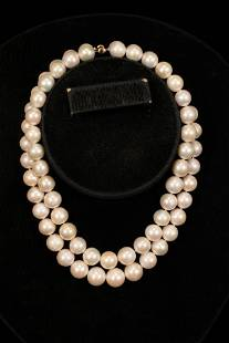 SOUTH SEA PEARL & 18KT GOLD DOUBLE STRAND NECKLACE, L