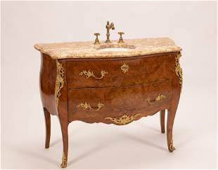 LOUIS XV STYLE SATINWOOD & MARBLE TOP COMMODE SINK, H