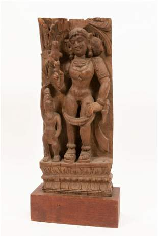 """INDIAN CARVED WOOD FIGURAL CARVING 19TH.C. H 17"""" W"""