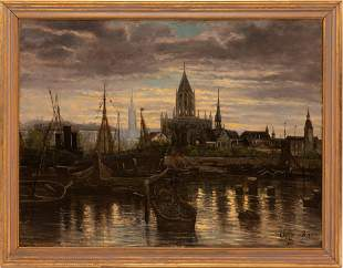 """SIGNED FLEMISH OIL ON CANVAS, 1895, H 37"""", W 50"""", RIVER"""