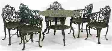 VICTORIAN STYLE IRON, PATIO SET, C. 1980-2000 TABLE