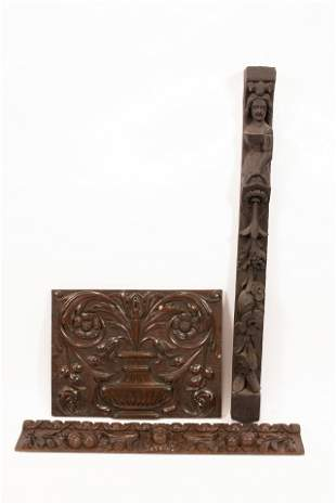 PAINTED CARVED WOOD WALL ORNAMENTS GROUP OF THREE H
