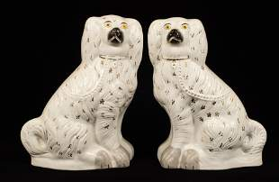 STAFFORDSHIRE POTTERY KING CHARLES SPANIELS 19*TH C H