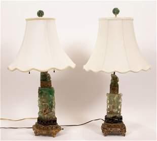 "CHINESE GREEN QUARTZ & BRASS LAMPS, PAIR, H 29"""