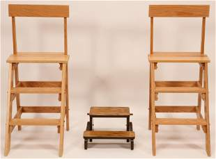 """AMERICAN COUNTRY STYLE OAK LIBRARY LADDERS (2) H 39"""","""