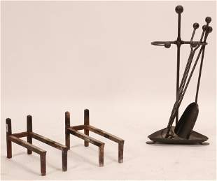 """WROUGHT IRON FIRE TOOLS, HAND HAMMERED 4 PCS H 24"""""""