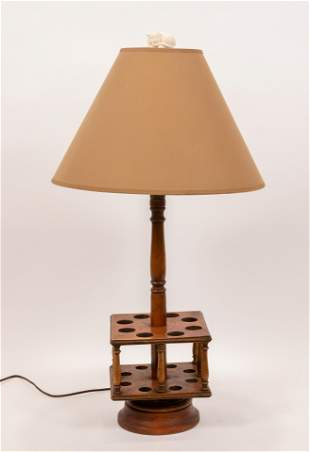 """ANTIQUE WALNUT PIPE RACK, NOW LAMP H 28"""" W 7.5"""""""