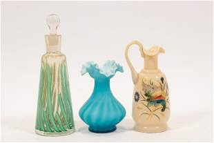 BLOWN GLASS VENETIAN BOTTLE, SATINGLASS VASE AND