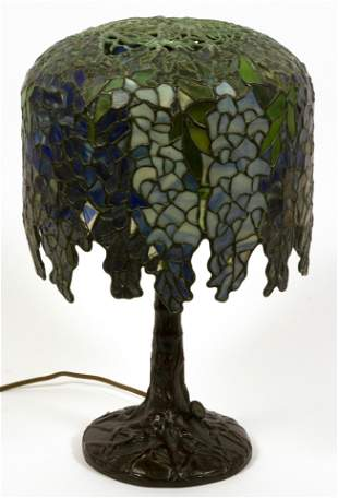 TIFFANY STYLE WISTERIA LEADED STAINED GLASS PONY LAMP