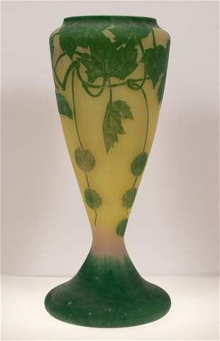 DAUM (CO.) (FRENCH, ESTABLISHED 1878) CAMEO GLASS VASE,
