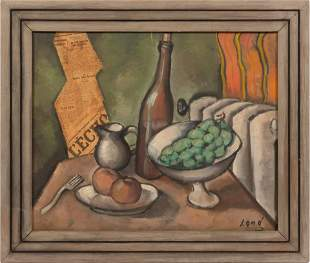 20TH C. OIL AND COLLAGE ON CANVAS, SIGNED LONG, C.1930