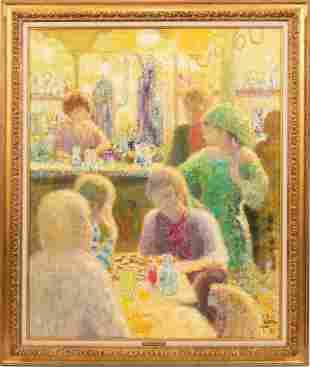 "LOUIS FABIEN, FRENCH B.1924, OIL ON CANVAS 1973 H 40"" W"