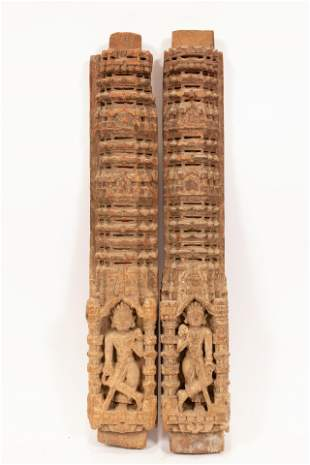 INDIAN CARVED WOOD WALL ORNAMENTS, C. 1900, PAIR, H