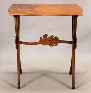 EMILE GALLE (FRENCH, 1846-1904), MARQUETRY MAHOGANY