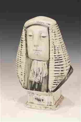 """ENGLISH PORCELAIN BUST, H 13"""", W 7.5"""" BARRISTER"""