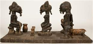 BAULE, IVORY COAST, AFRICAN, CARVED WOOD AND FABRIC,
