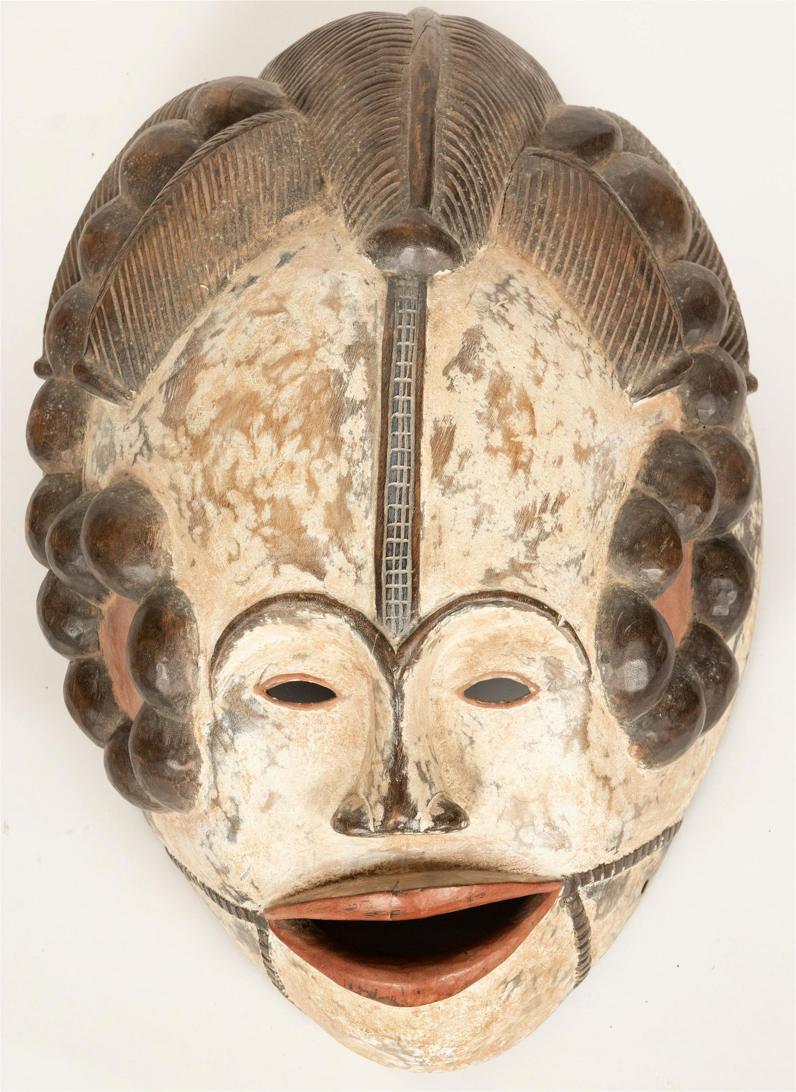 IBO, NIGERIA, AFRICAN ART CARVED WOOD AND PIGMENT MASK