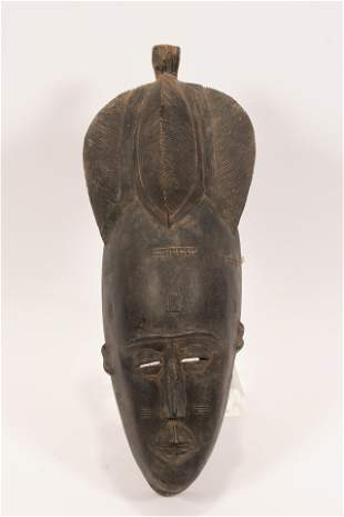 """ANGOLA, GOLA, AFRICAN CARVED WOOD MASK, H 22"""", W 9"""""""