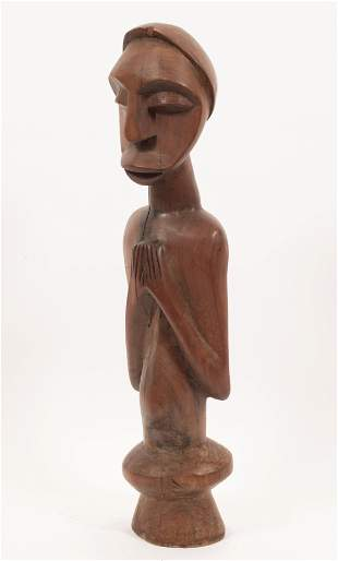 """AFRICAN CEREMONIAL CARVED WOOD FIGURE, H 24"""", W 6"""""""