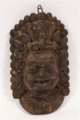 """CARVED WOOD MASK H 12"""" W 8.5"""""""