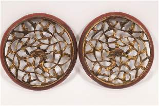 """CHINESE GILT CARVED WOOD WALL ORNAMENTS PAIR DIA 8.5"""""""