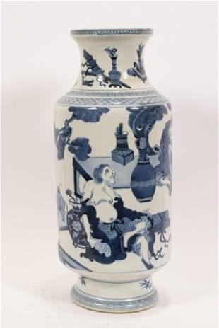 "CHINESE BLUE AND WHITE GLAZED PORCELAIN VASE, H 18.5"","
