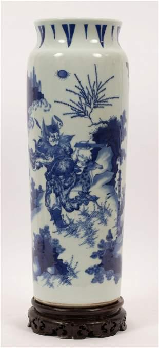 """CHINESE BLUE & WHITE PORCELAIN VASE, H 17.25"""", DIA 6"""""""