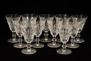 """WATERFORD 'TRAMORE' CRYSTAL WHITE WINES, 11 PCS, H 5"""","""