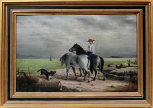 H. DISCHINGER, DISCHINGER, GERMAN OIL ON BOARD, 1906, H