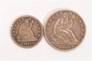 U.S. 1853 SEATED LIBERTY HALF DOLLAR & 1891 QUARTER,