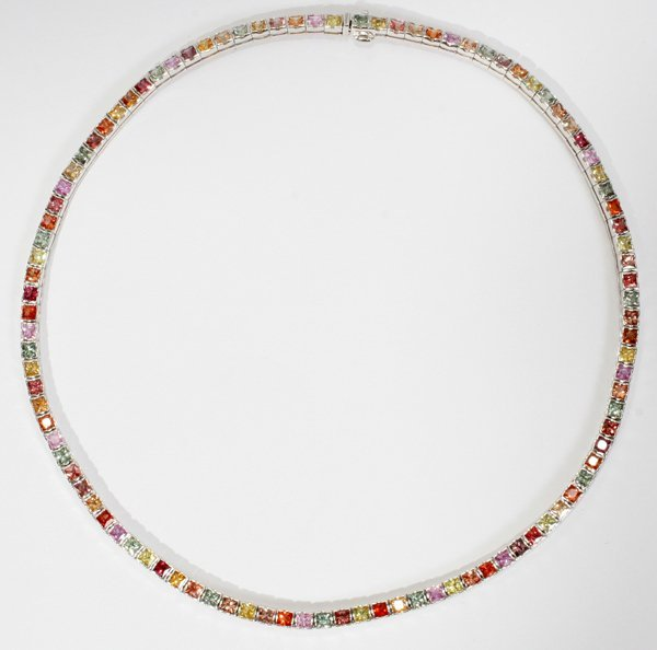 120013: 18KT WHITE GOLD & MULTI-COLOR SAPPHIRE NECKLACE