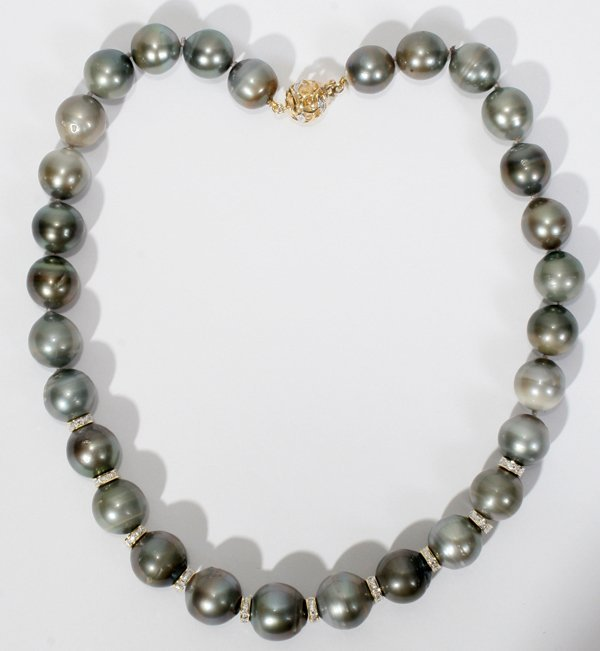 120014: 14KT YELLOW GOLD AND TAHITIAN PEARL NECKLACE,