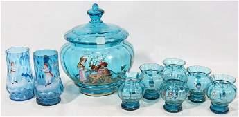121266: GERMAN ENAMELED GLASS PUNCH SET, SEVEN PIECES