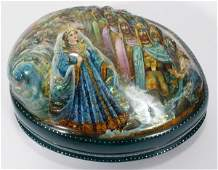 121367 RUSSIAN LACQUERED ABALONE SHELL BOX L 5 12