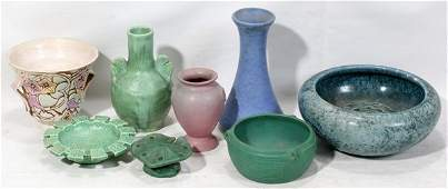121408: AMERICAN ART POTTERY GROUPING, NINE PIECES