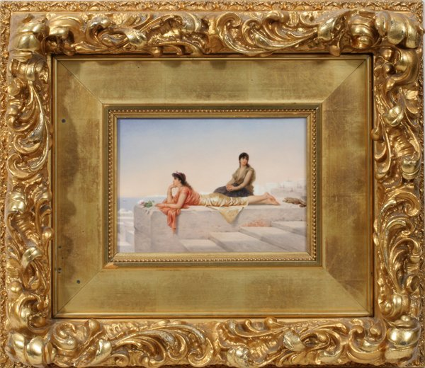 122014: K.P.M. HAND PAINTED PORCELAIN PLAQUE, GIRLS ON