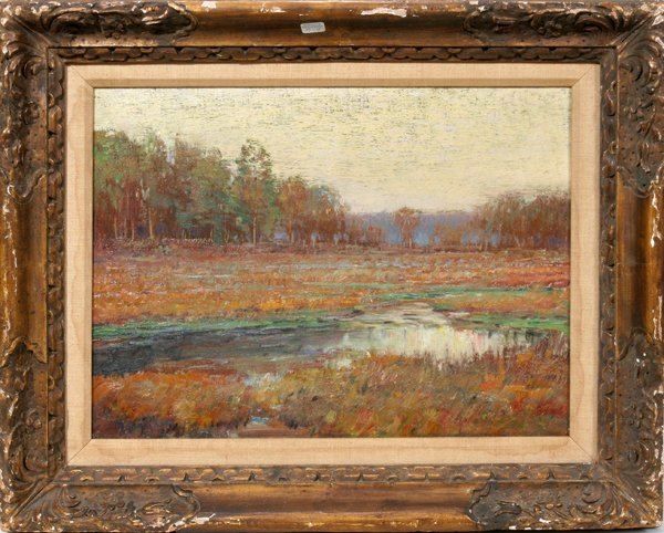 122016: BRUCE CRANE, OIL ON CANVAS, FALL LANDSCAPE: