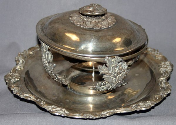 122259: RUSSIAN .875 SILVER COVERED DISH LACKING INSERT