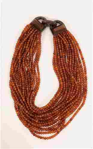 """18 STRAND AMBER COLOR BEAD NECKLACE  L 17"""""""