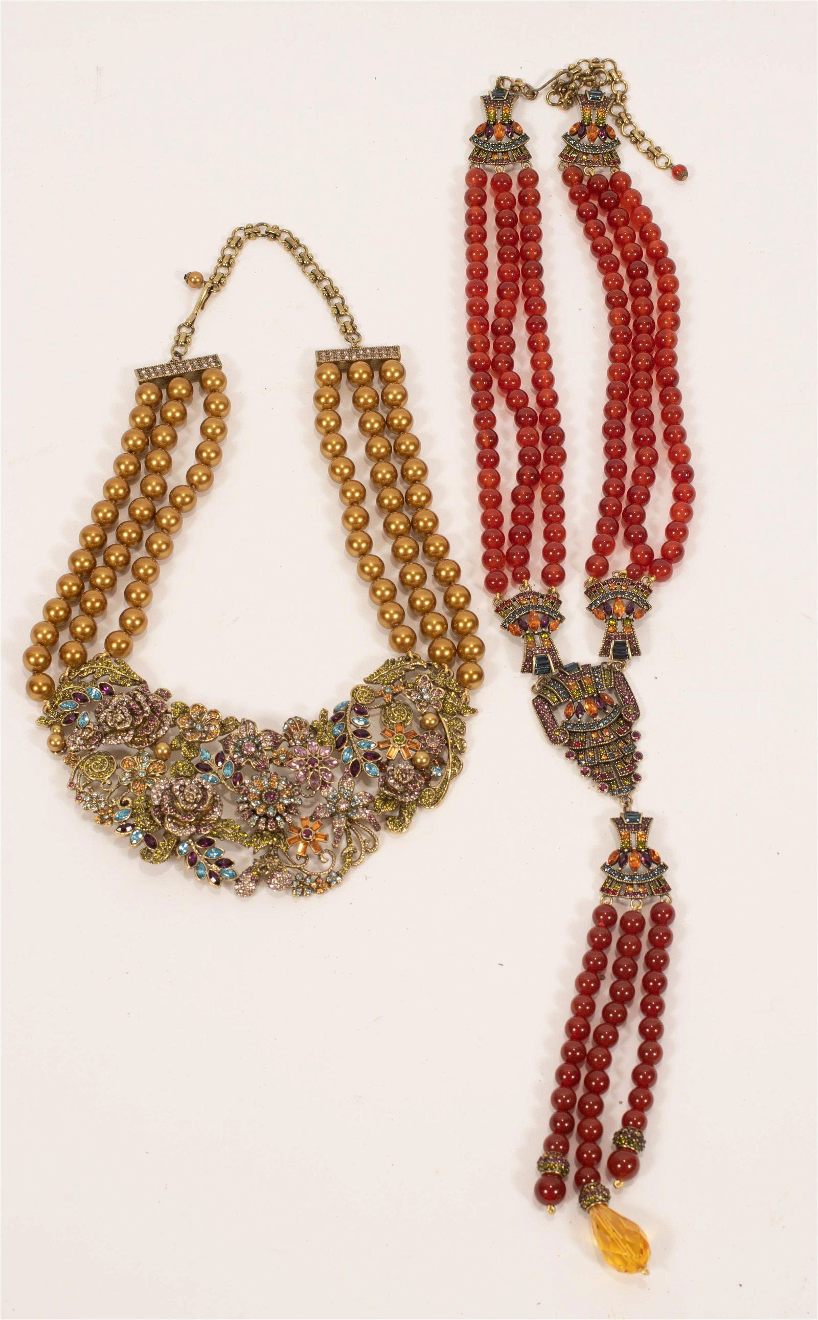 """HEIDI DAUS, CRYSTAL BEAD NECKLACES, TWO H 14"""", 18"""""""