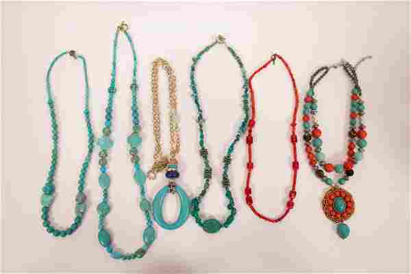 """TURQUOISE AND OTHER STONE COSTUME NECKLACES, L 24"""","""