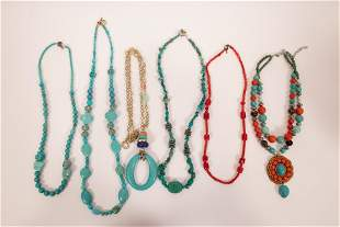 "TURQUOISE AND OTHER STONE COSTUME NECKLACES, L 24"","