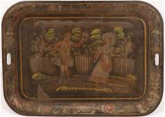 "TIN TOLE TRAY C. 1840 H 19"" W 26.125"" SCOTTISH DANCING"