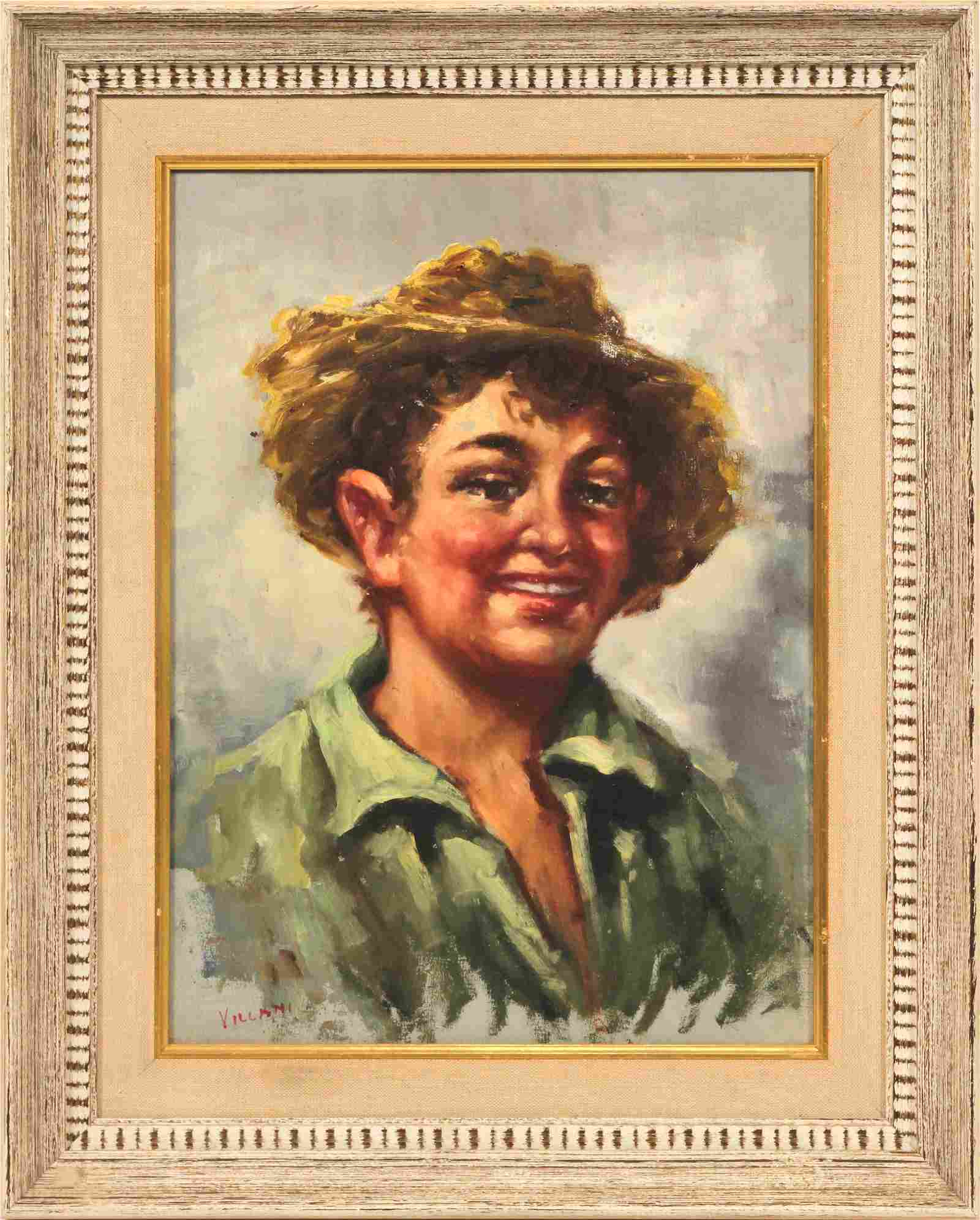 VILLANI, ITALY, LAUGHING FARM BOY WITH STRAW HAT, OIL