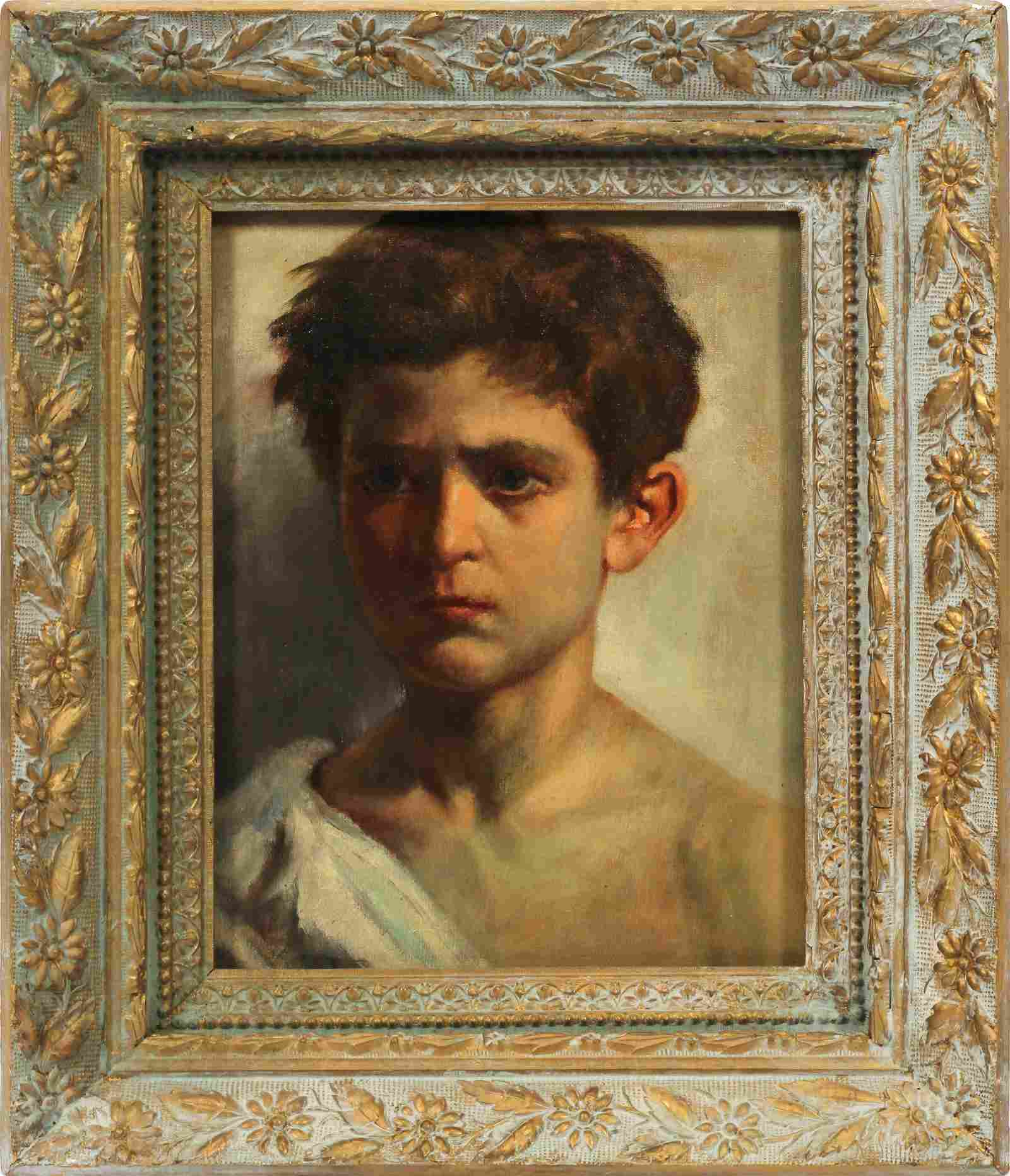 """PORTRAIT OF A YOUNG BOY, OIL PAINTING ON BOARD, H 14"""" W"""