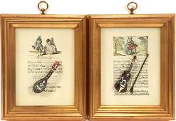 "MINIATURE INSTRUMENTS MOUNTED ON SHEET MUSIC H 10.5"" W"