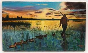 STURMAN, DUCK HUNTING AT SUN-RISE OIL ON CANVAS NO