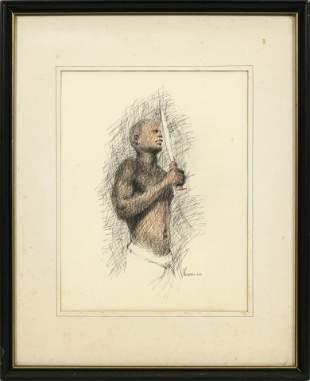 "JACK KOHRN (20TH C.) INK DRAWING ON PAPER, 1966, H 12"","